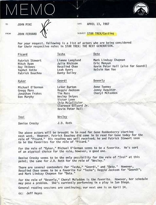 Star Trek TNG 1987 Casting Memo
