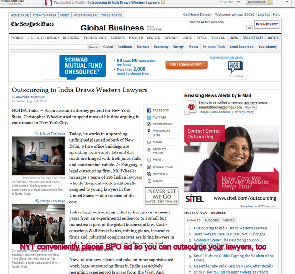 HOT NYT Story On Sending Legal Jobs to India Has 'helpful' Ad Inviting You to Send Your Lawyer's Job There, Too
