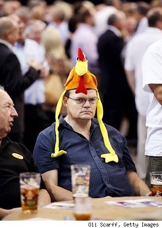 Grumpy Chicken Hat Man