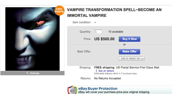 VAMPIRE TRANSFORMATION SPELL [eBay Auction]