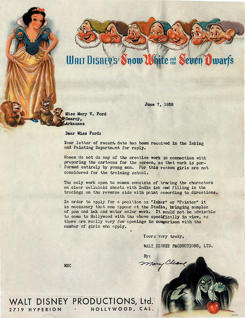 Rejection Letter To Female Artist From Disney
