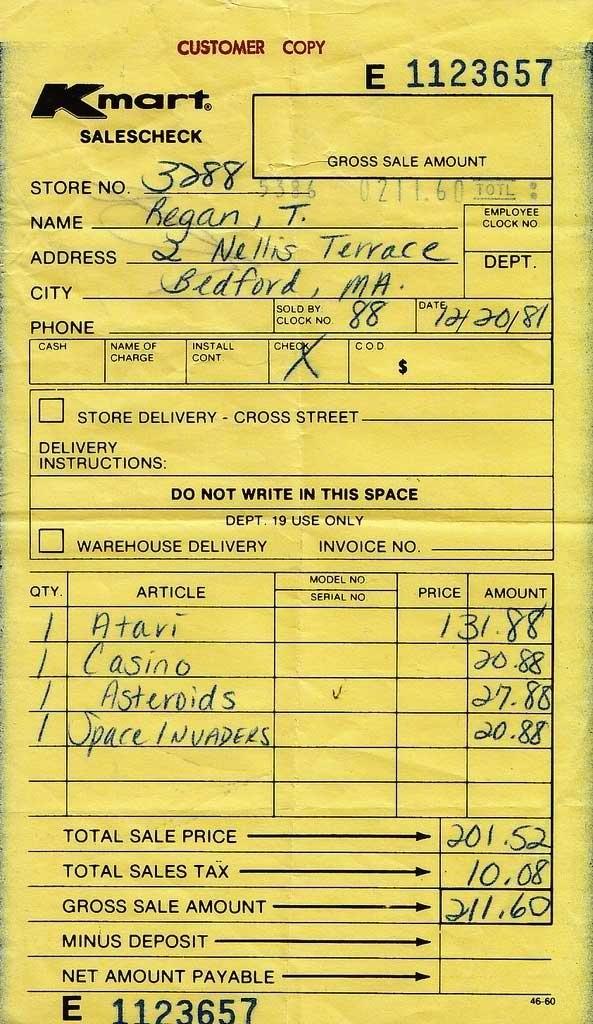 1981 Atari Receipt
