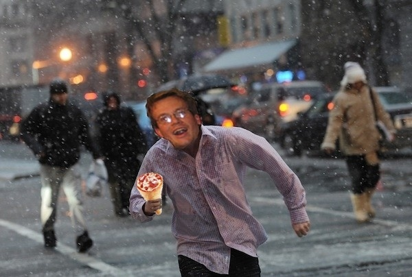 John Green Runs in Thundersnow With Pizza Cone