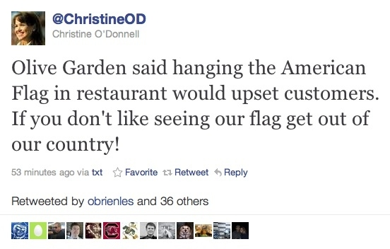 Christine O'Donnell Tells Olive Garden to Go Back to Italy!