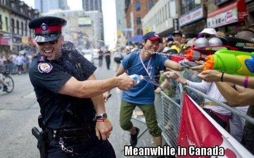 Occupy Protests Hit Toronto, Dozens Are Splashed in a Good Natured Water Gun Fight