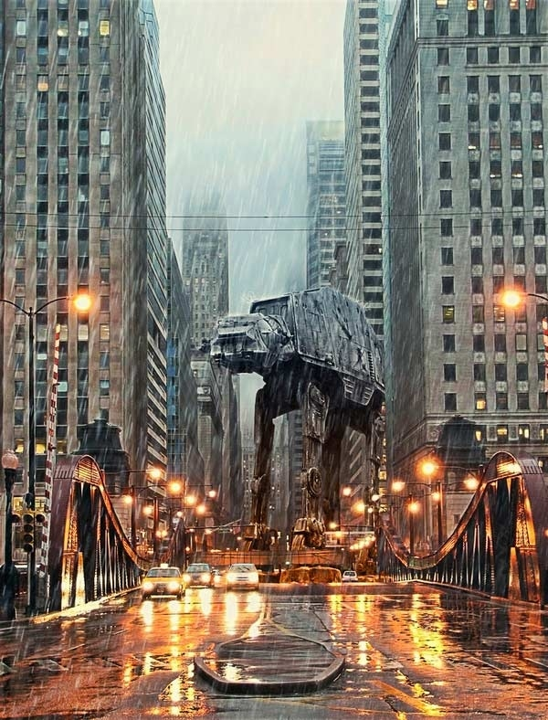 AT-AT Storms Downtown Chicago