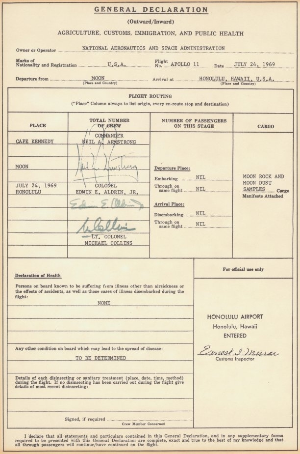 The Immigration Form Apollo 11 Crew Filled When They Came Back from The Moon