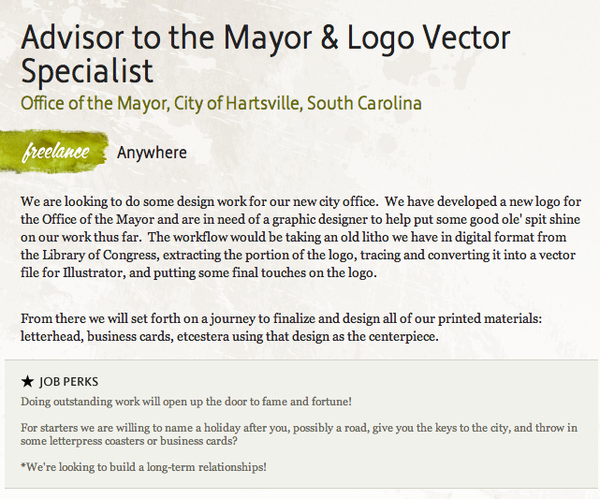 Best Graphic Design / Advisor to the Mayor Job Posting Ever