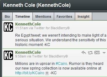 Kenneth Cole's Tasteless Egypt Tweet