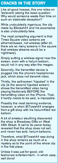 "Why ""Inventor Hijacking Times Square's Video Screens With Converted IPhone"" is a Hoax"