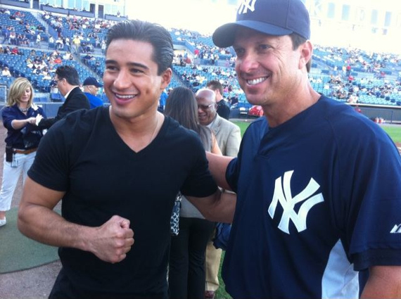 Mario Lopez and Tino Martinez at Yankees Spring Training game