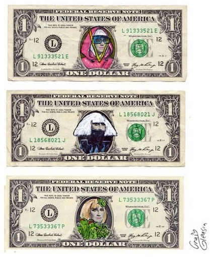 Defacing Money – Famous Figures  Including the Spiderman Dollar