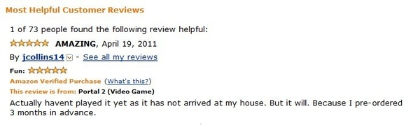 First Portal 2 Review On Amazon