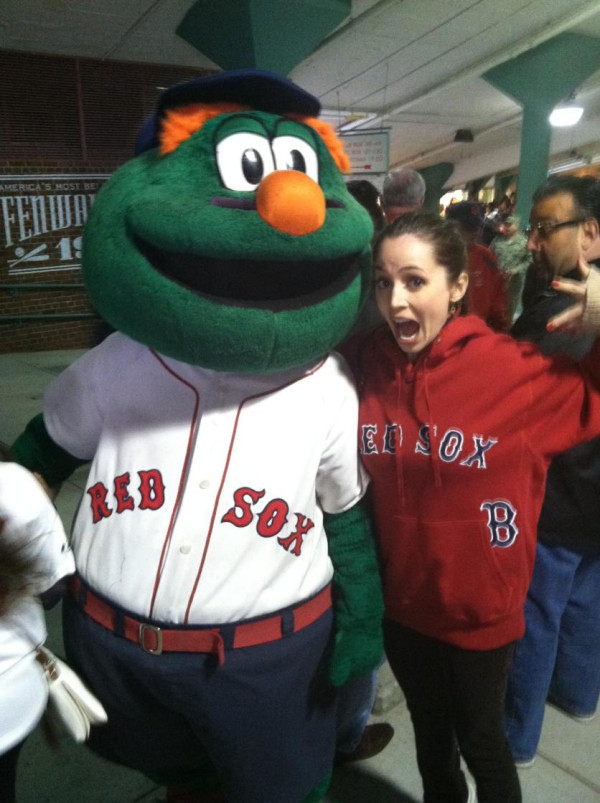 Eliza Dushku Poses With Wally The Red Sox Mascot