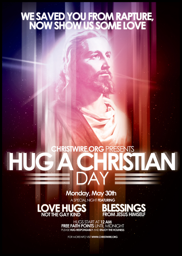 Hug a Christian Day Flyer