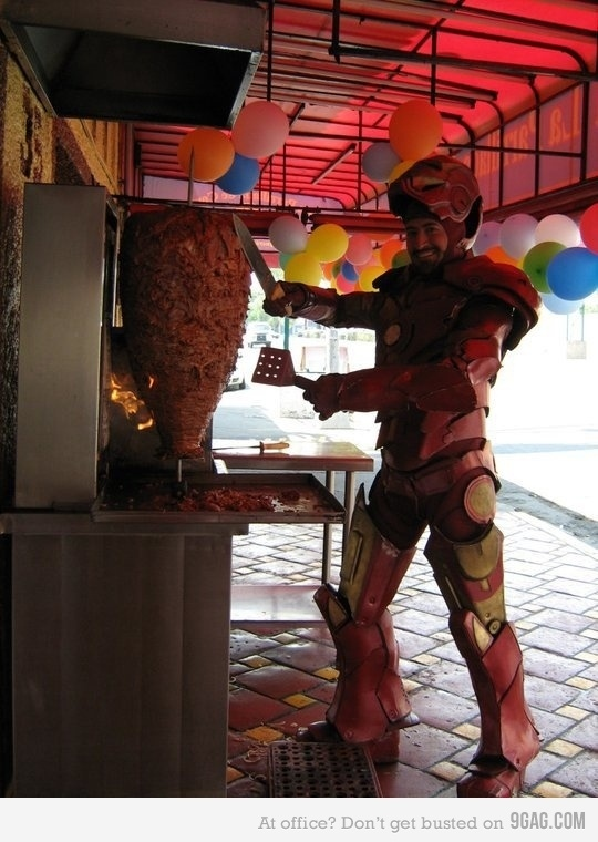 Iron Man Serves Shawarma