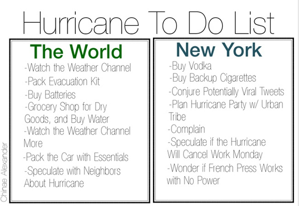 Hurricane To Do List: The World Vs. New York