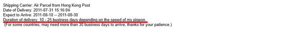 Ebay Seller Delivery Notice
