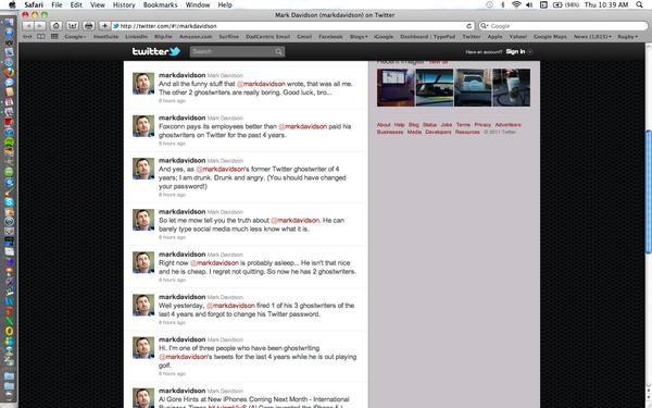 Social Media Guru Mark Davidson's Disgruntled Ghostwriter Takes Over His Twitter Account; Hilarity Ensues