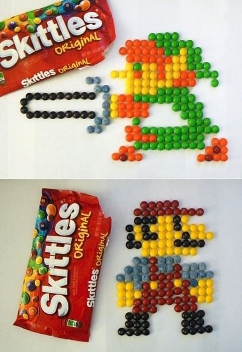 Link And Mario Made Out Of Skittles