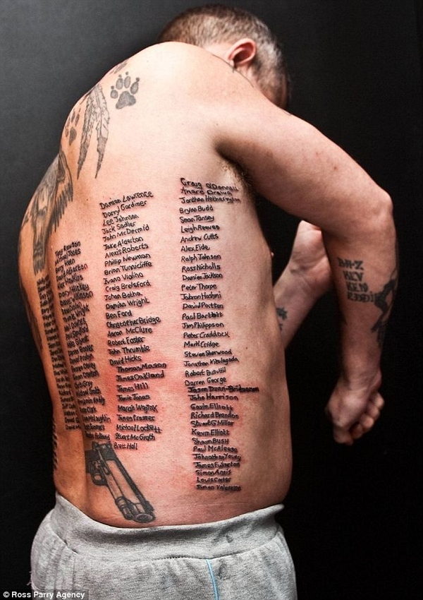 British Ex-soldier Tatooed With All 232 Names Of Fallen Comrades