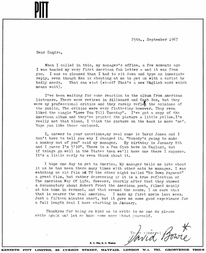 A 42-Year-Old Letter From David Bowie