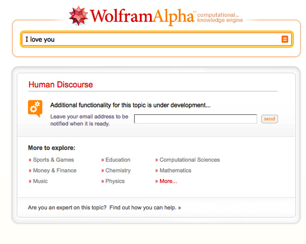 Wolfram Alpha Doesn't Understand Love