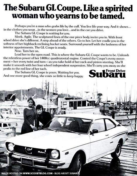 Sexist Subaru Ad From 1970