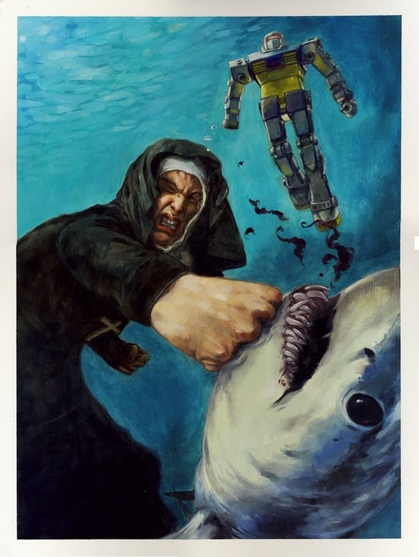 Nun Punching A Shark