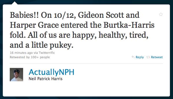 Neil Patrick Harris is a Dad!!!!