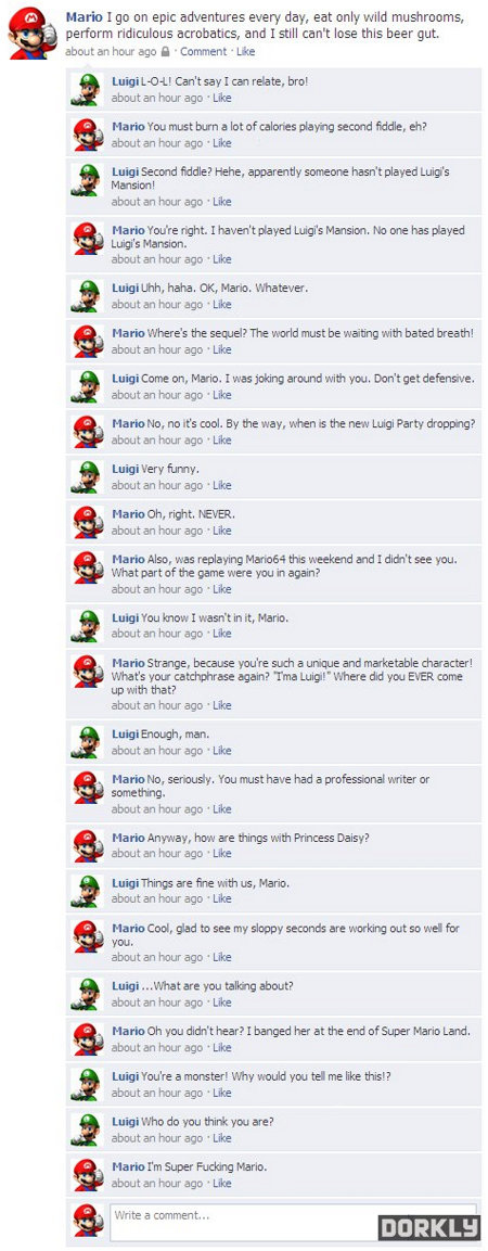 If Mario and Luigi Were On Facebook