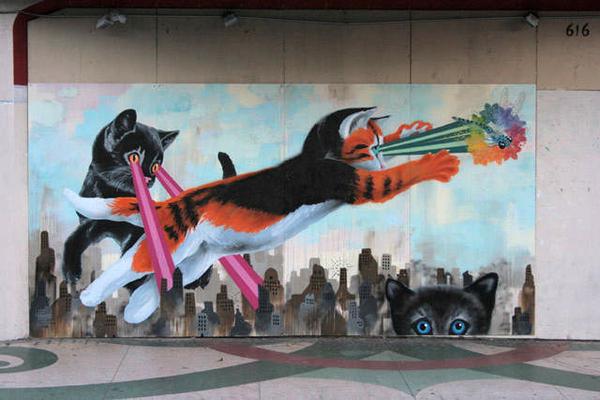 Laser Cat Mural