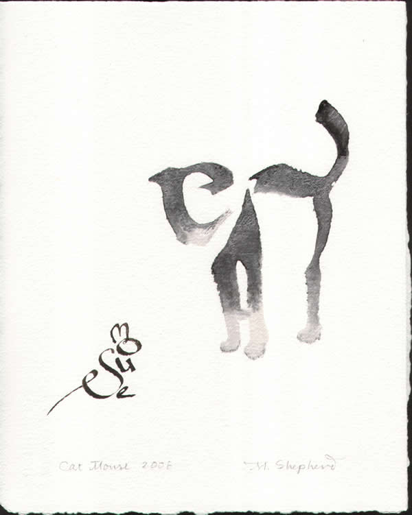 Mouse & Cat Calligraphic Art