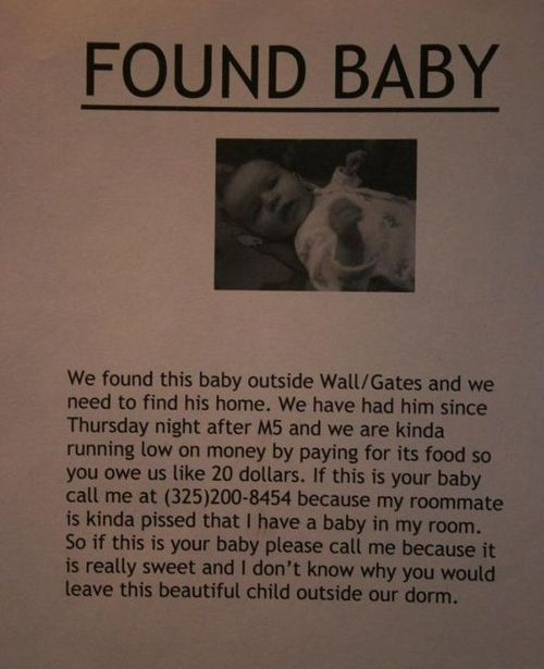 Um, Did Somebody Here Lose a Baby?