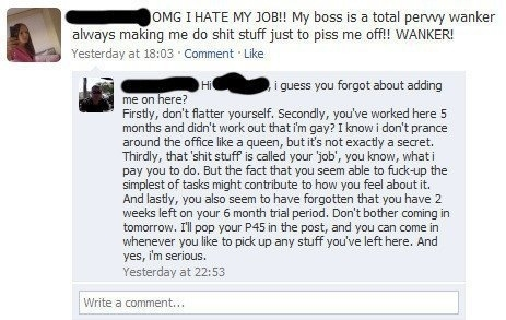 Never add your boss as your facebook friend