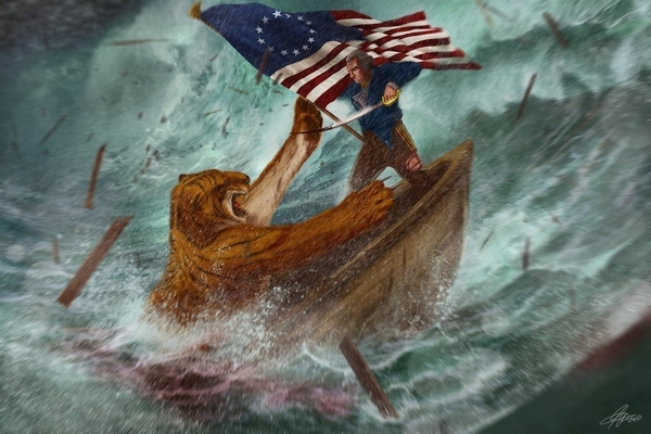 George Washington Fighting A Bengal Tiger On A Sinking Boat During A Hurricane