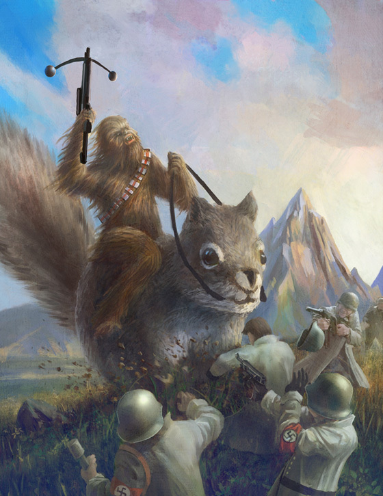 Chewy Fighting Nazis While Riding A Giant Squirrel
