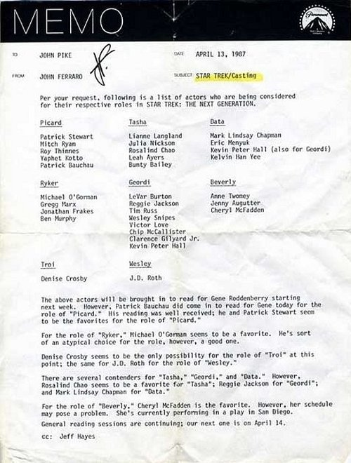 Star Trek Production Memo, Circa 1987