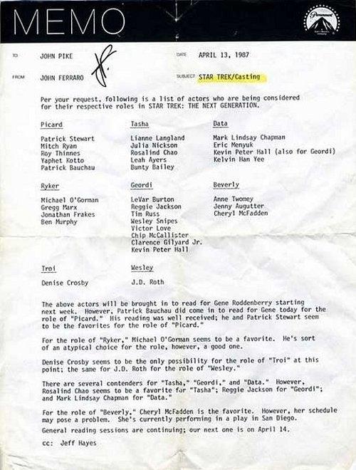 Star Trek Production Memo, Circa 1987