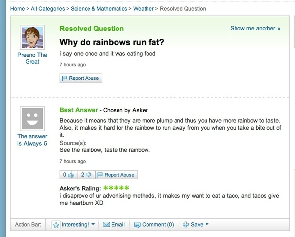 Why Do Rainbows Run Fat?