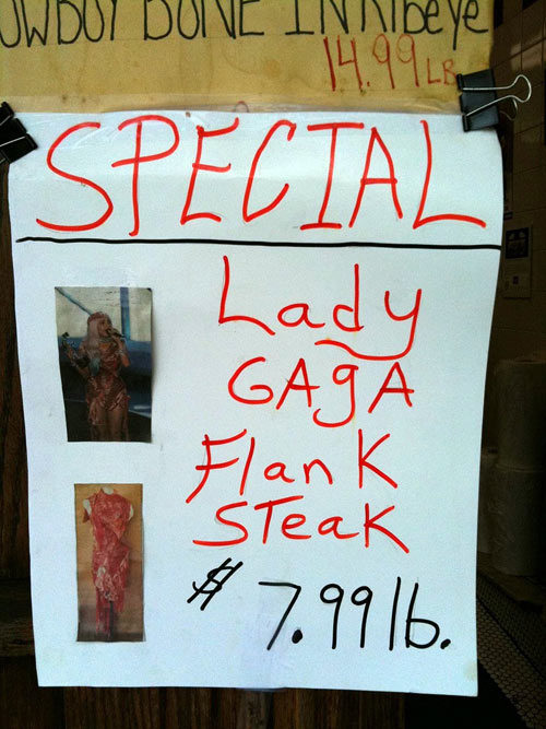Special On Lady Gaga Flank Steak, Aisle 10
