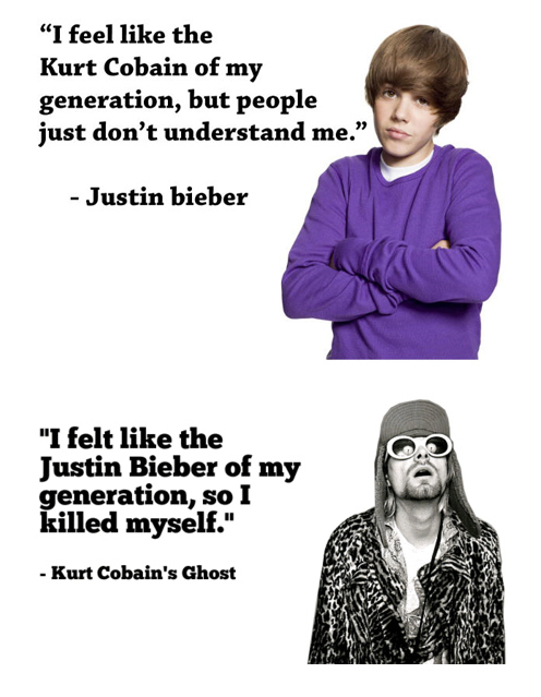 Kurt Cobain's Ghost Responds to Justin Bieber