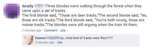 Three Blondes Were Walking Through The Forest...