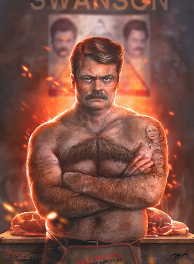 The Greatest Ron Swanson Portrait Ever