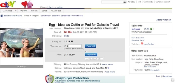 Lady Gaga's Egg for Sale On EBay