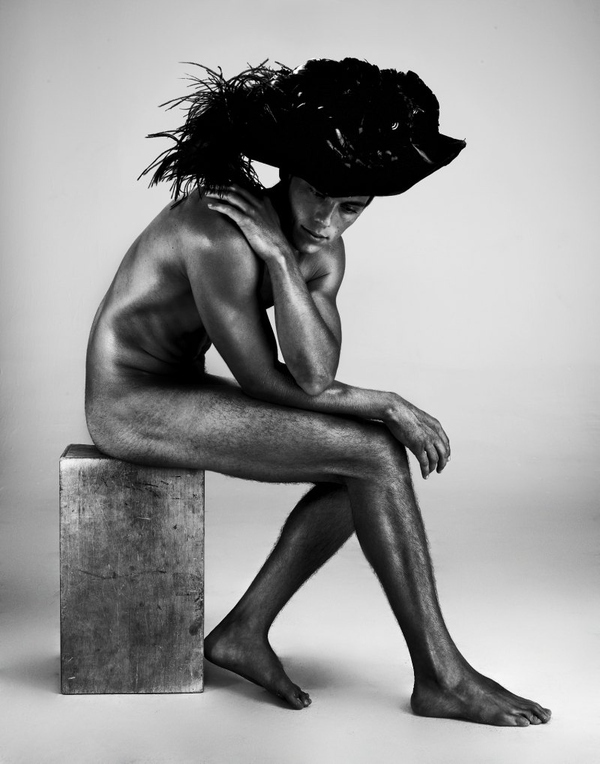 Nude Male Models Wearing Couture Hats