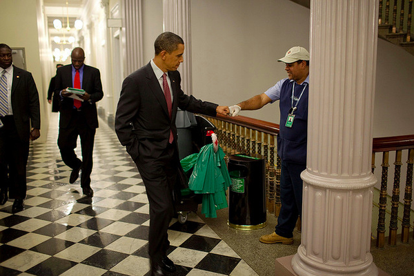 Obama Fist Bumps a White House Custodian