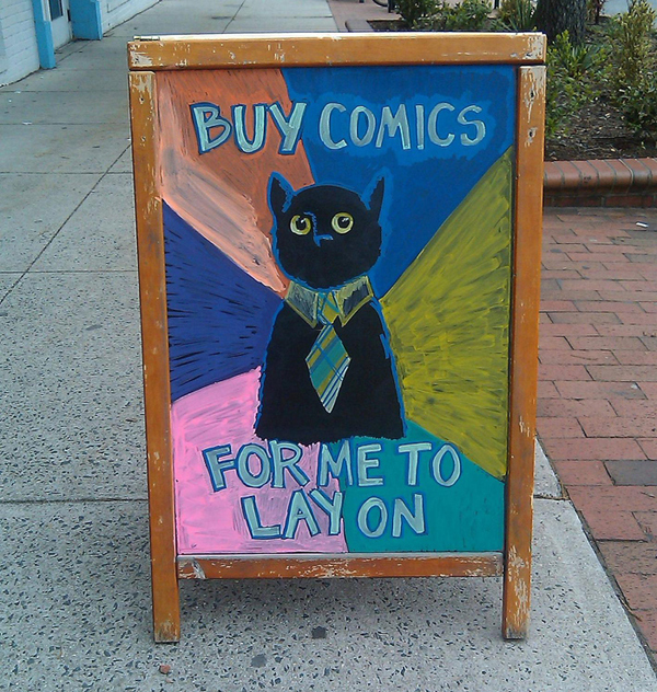 Business Cat Sidewalk Sign