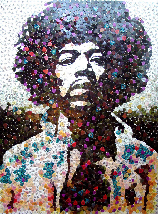 Jimi Hendrix in 5,000 Guitar Picks