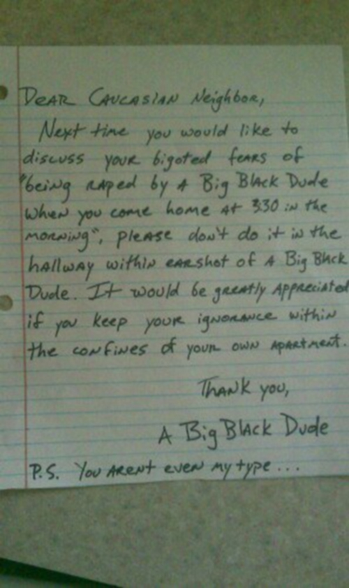 """Dear Caucasian Neighbor..."""